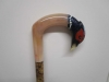 Cock pheasant rams horn walking stick
