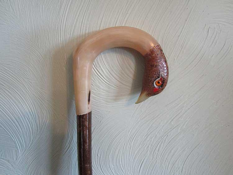 Hen pheasant rams horn stick