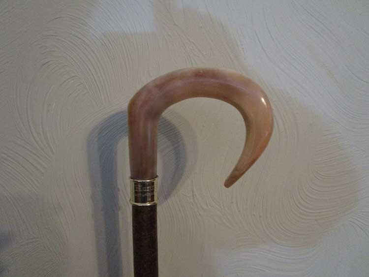 Welsh rams horn market stick with engraved silver collar