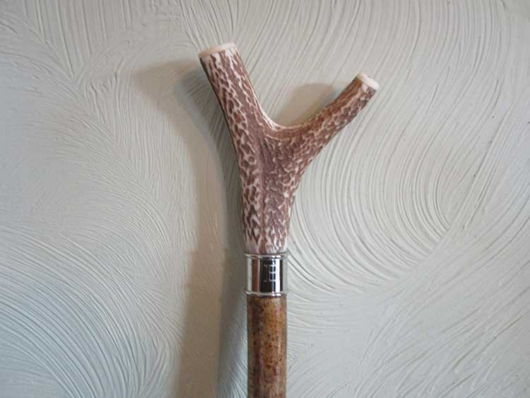Stag antler thumb stick with engraved silver collar