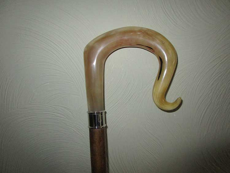 Welsh mountain horn crook with engraved silver collar.